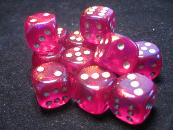 Chessex Dice Sets: Magenta/Gold Borealis 16mm d6 (12)