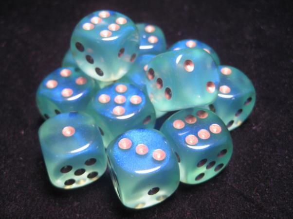 Chessex Dice Sets: Light Green/Gold Borealis 16mm d6 (12)