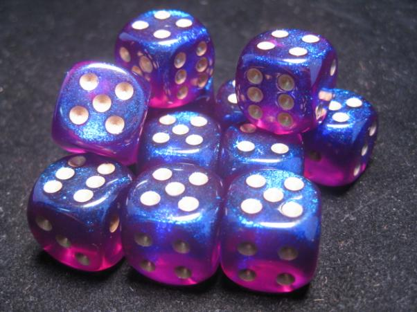 Chessex Dice Sets: Royal Purple/Gold Borealis 16mm d6 (12)