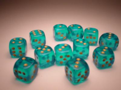 Chessex Dice Sets: Teal/Gold Borealis 16mm d6 (12)