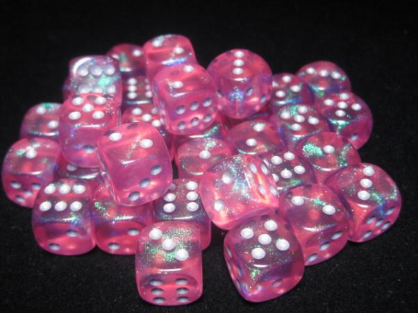 Chessex Dice Sets: Pink/Silver Borealis 12mm d6 (36)