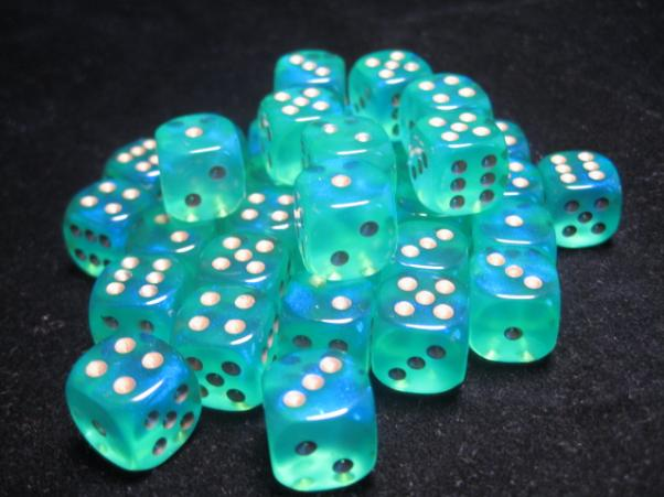 Chessex Dice Sets: Light Green/Gold Borealis 12mm d6 (36)