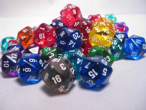 Chessex Bulk Dice Sets: Assorted Translucent d20 Bag (50)