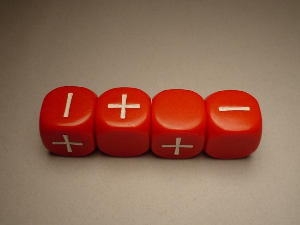 Fudge Dice : Red (4 dice in plastic tube)