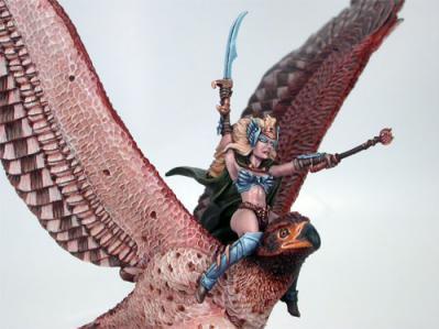 Visions In Fantasy: War Eagle w/Female Elven Rider