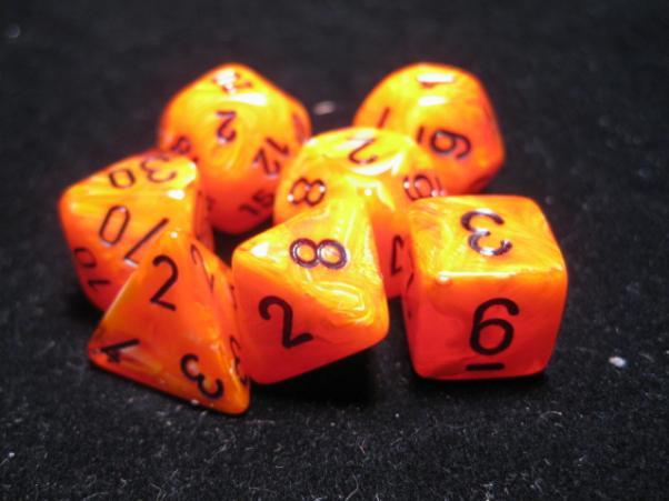 Chessex RPG Dice Sets: Orange/Black Vortex Polyhedral 7-Die Set