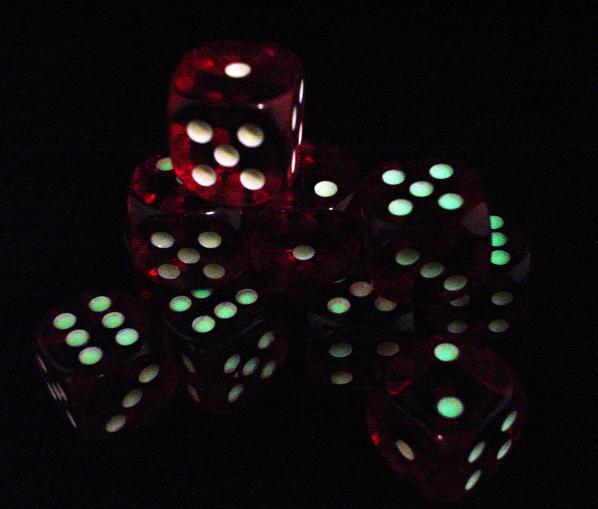 Koplow Glow in the Dark Spots: Red 16mm D6 (12)