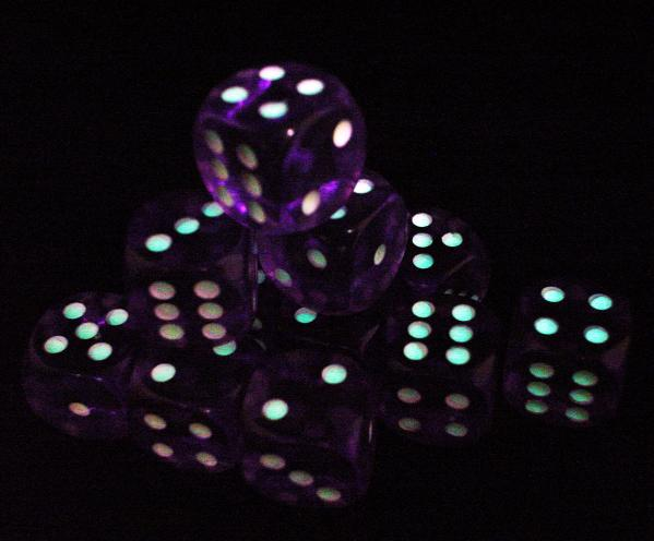 Koplow Glow in the Dark Spots: Purple 16mm D6 (12)