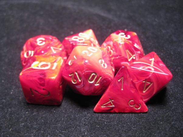 Chessex RPG Dice Sets: Burgundy/Gold Vortex Polyhedral 7-Die Set