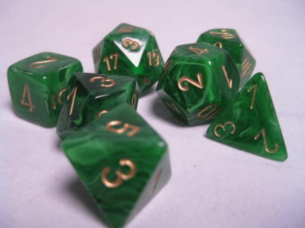 Chessex RPG Dice Sets: Green/Gold Vortex Polyhedral 7-Die Set