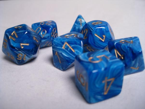 Chessex RPG Dice Sets: Blue/Gold Vortex Polyhedral 7-Die Set