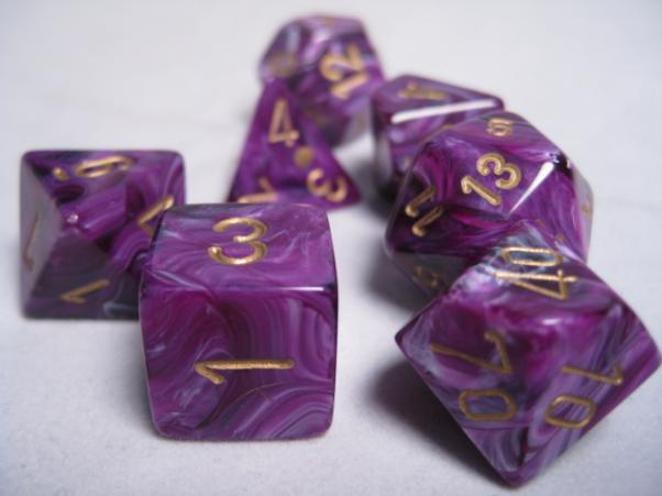 Chessex RPG Dice Sets: Purple/Gold Vortex Polyhedral 7-Die Set