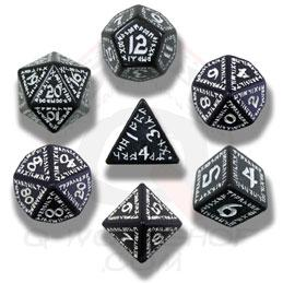 Exotic Dice Sets: Black & White Runic Dice (7)