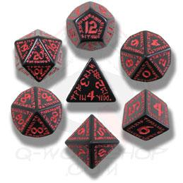 Exotic Dice Sets: Black & Red Runic Dice (7)