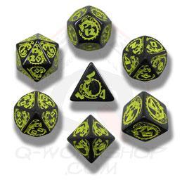 Exotic Dice Sets: Black & Yellow Dragons Dice (7)