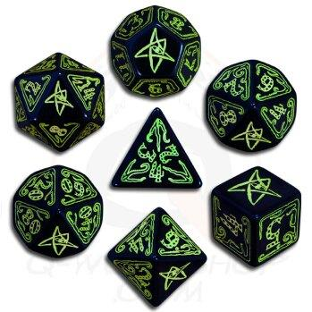 Exotic Dice Sets: Call of Cthulhu Black & Green Dice Set (7)