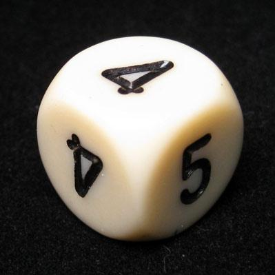Chessex Special Dice: Ivory/Black Opaque 16mm Averaging d6 (2-3-3-4-4-5)