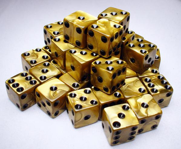 Koplow RPG Dice Sets: Gold/Black Olympic 12mm d6 (36)