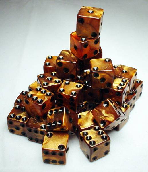 Koplow RPG Dice Sets: Bronze/Black Olympic 12mm d6 (36)