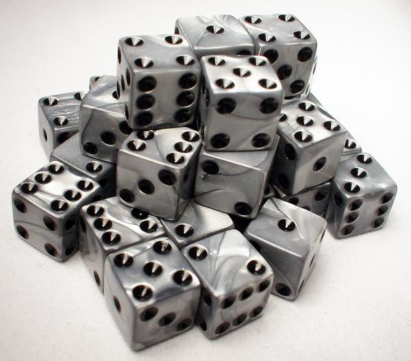 Koplow RPG Dice Sets: Silver/Black Olympic 12mm d6 (36)