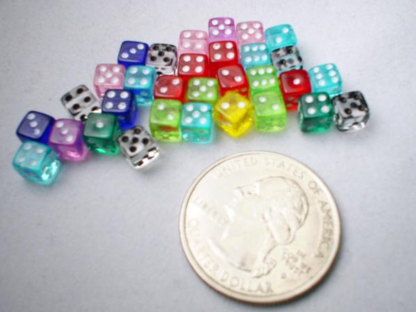 Miniature Dice: Assorted Translucent 5mm d6 (30)