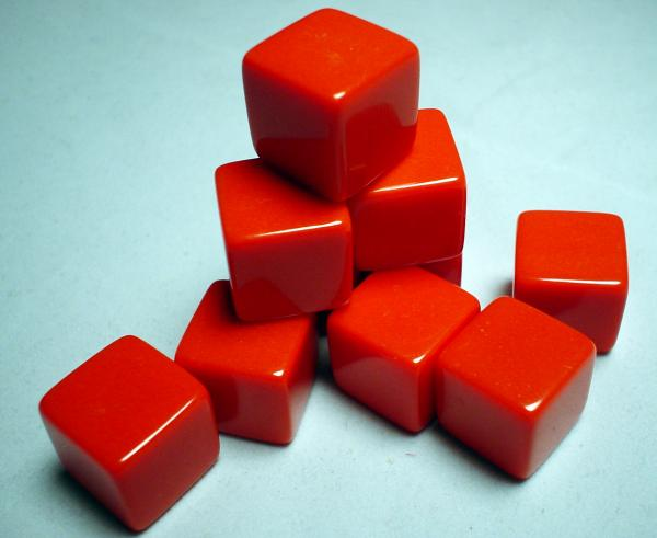 Blank Dice: 16mm Red Opaque Blank d6 (1)