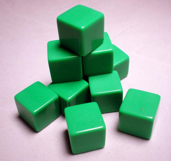 Blank Dice: 16mm Green Opaque Blank d6 (1)