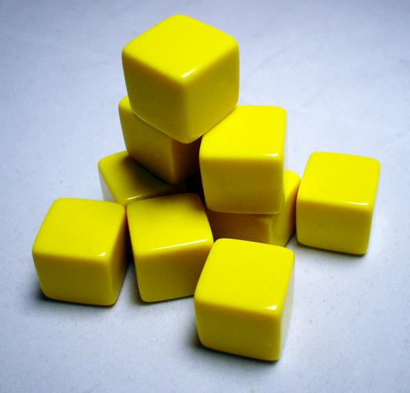 Blank Dice: 16mm Yellow Opaque Blank d6 (1)