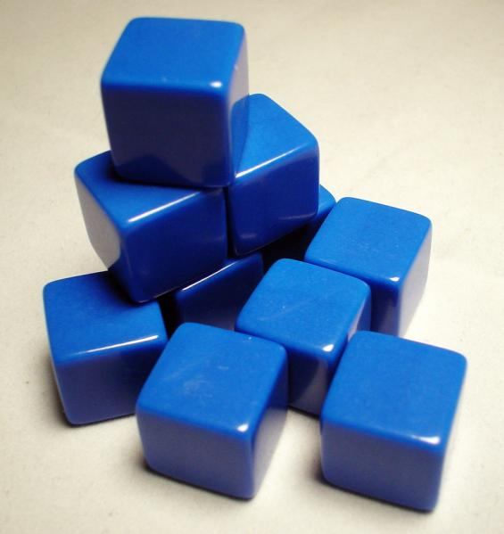 Blank Dice: 16mm Blue Opaque Blank d6 (1)