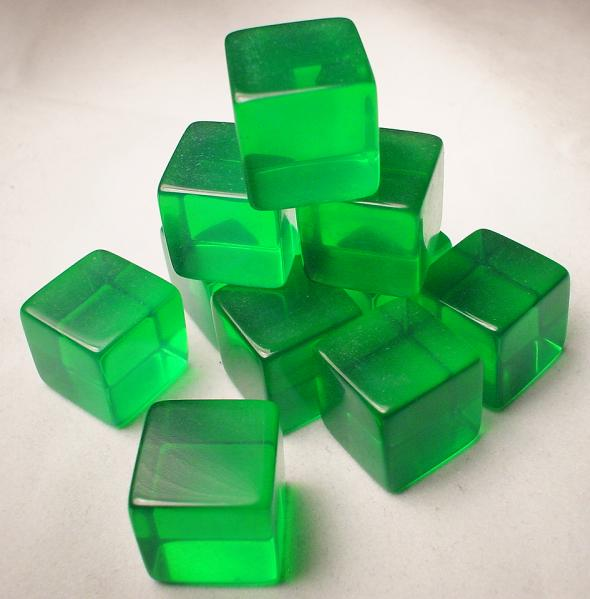 Blank Dice: 16mm Transparent Green Blank d6 (1)