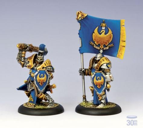 Warmachine: (Cygnar) Sword Knight Officer & Standard Bearer Unit Attachment (2)