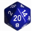 Chessex Special Dice: Blue/White Opaque 34mm d20 (1)