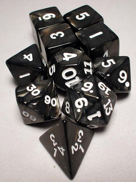 Koplow RPG Dice Sets: Charcoal/White Pearlized Polyhedral 10-Die Set