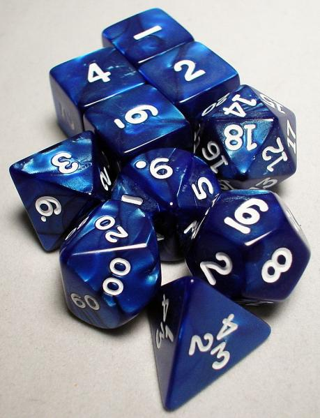 Koplow RPG Dice Sets: Navy/White Pearlized Polyhedral 10-Die Set