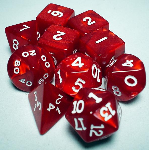 Koplow RPG Dice Sets: Red/White Pearlized Polyhedral 10-Die Set