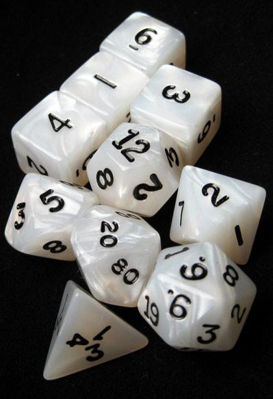 Koplow RPG Dice Sets: White/Black Pearlized Polyhedral 10-Die Set
