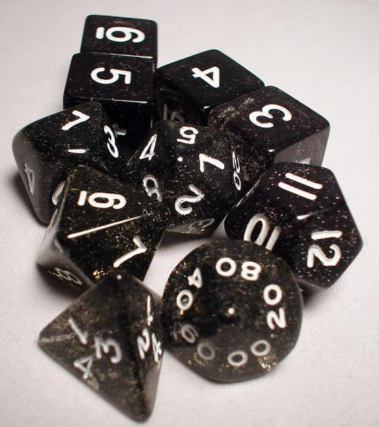 Koplow RPG Dice Sets: Black/White Glitter 10-Die Set