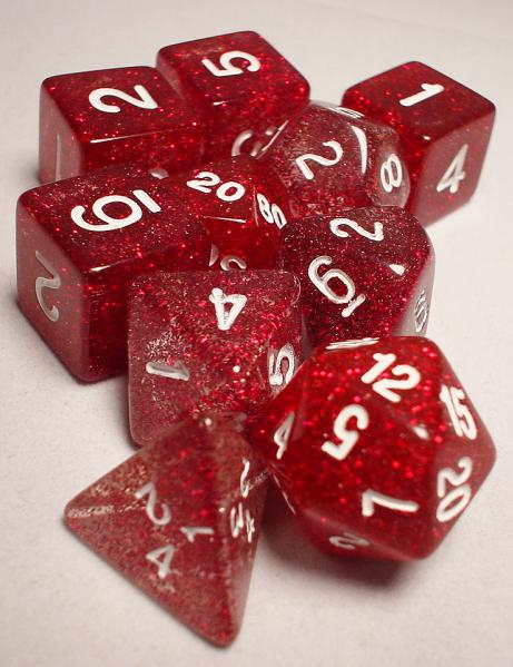 Koplow RPG Dice Sets: Red/White Glitter 10-Die Set