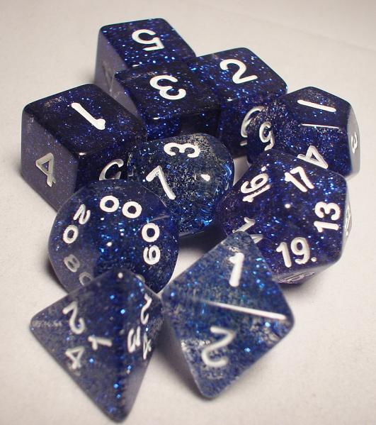 Koplow RPG Dice Sets: Blue/White Glitter 10-Die Set