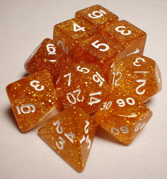 Koplow RPG Dice Sets: Gold/White Glitter 10-Die Set