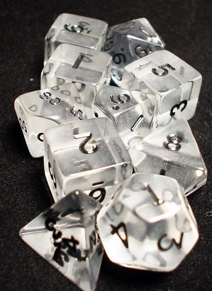 Koplow RPG Dice Sets: Clear/Black Transparent 10-Die Set