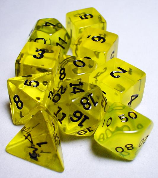 Koplow RPG Dice Sets: Yellow/Black Transparent 10-Die Set