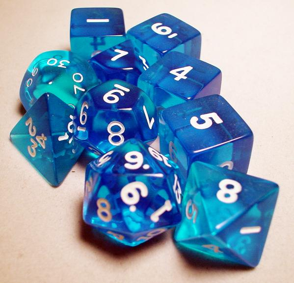 Koplow RPG Dice Sets: Blue/White Transparent 10-Die Set