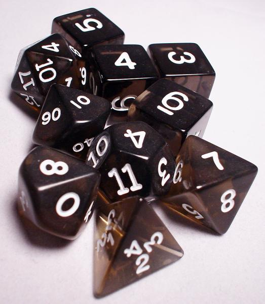 Koplow RPG Dice Sets: Black/White Transparent 10-Die Set