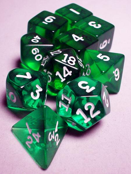 Koplow RPG Dice Sets: Green/White Transparent 10-Die Set