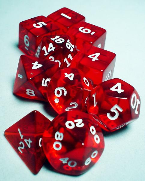 Koplow RPG Dice Sets: Red/White Transparent 10-Die Set
