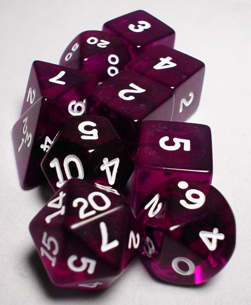 Koplow RPG Dice Sets: Purple/White Transparent 10-Die Set