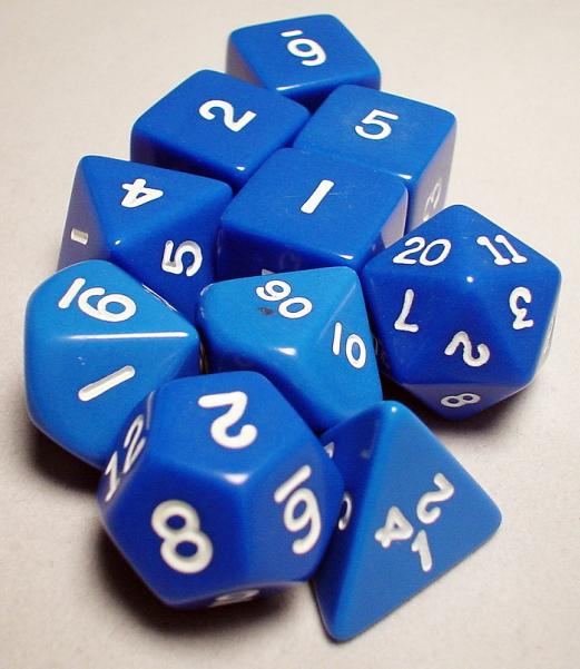 Koplow RPG Dice Sets: Blue/White Opaque 10-Die Set