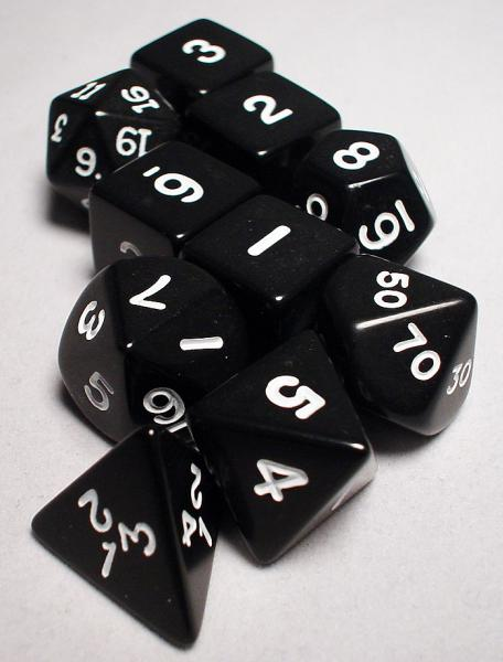 Koplow RPG Dice Sets: Black/White Opaque 10-Die Set