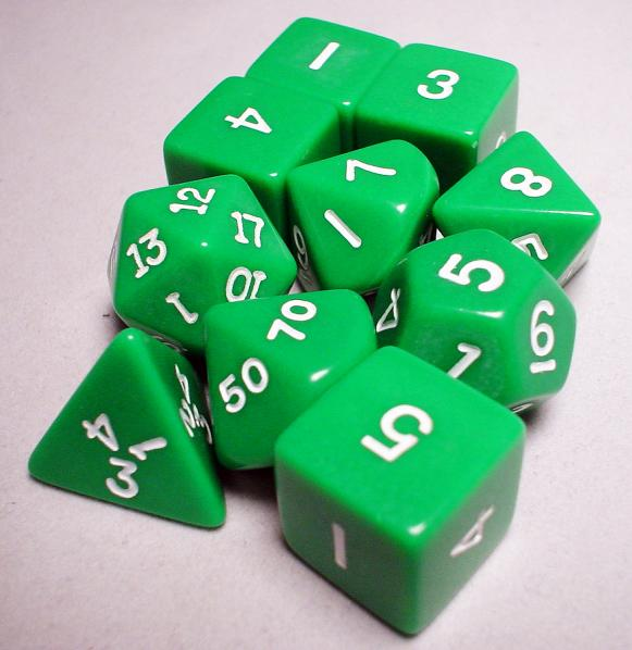 Koplow RPG Dice Sets: Green/White Opaque 10-Die Set